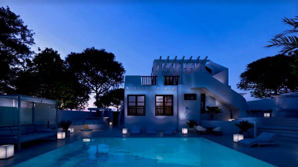Exterior y piscina de noche Pacheco & Asociados Casas de estilo mediterráneo Blanco