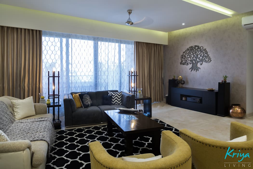3 BHK Apartment - Raheja Pebble Bay Modern living room by KRIYA LIVING Modern