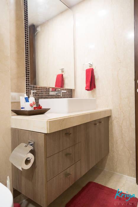 3 BHK Apartment - Raheja Pebble Bay:  Bathroom by KRIYA LIVING,