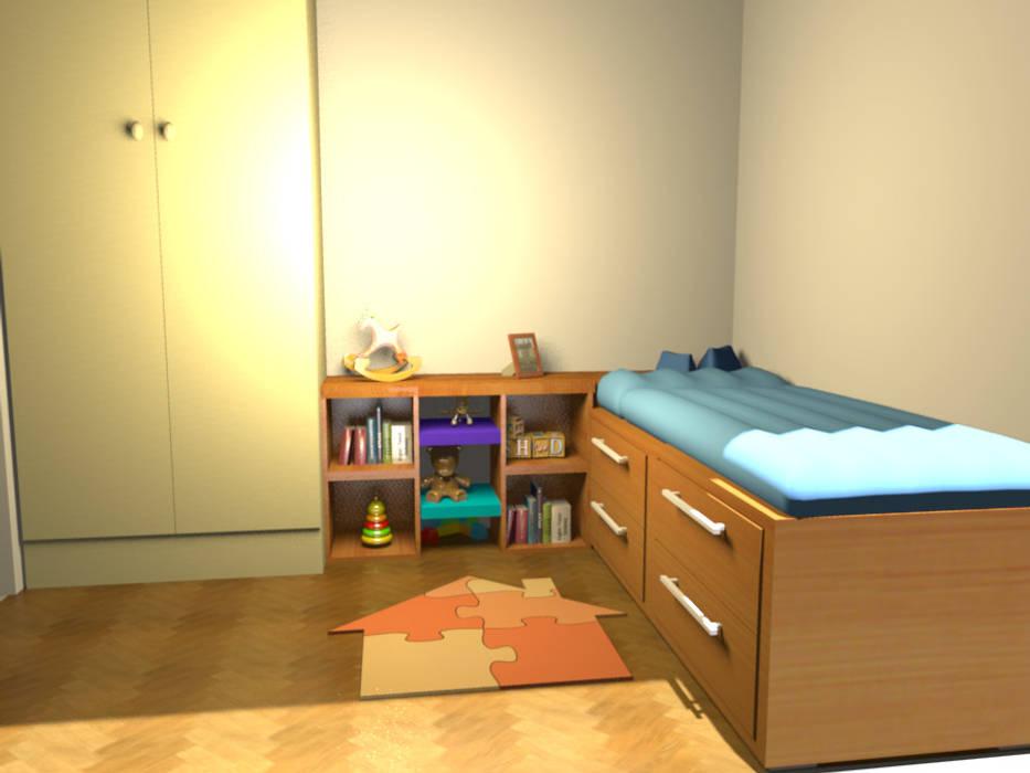Un dormitorio que se transforma con los años de Minimalistika.com Minimalista Madera maciza Multicolor