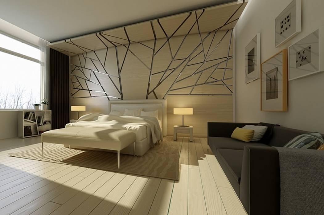 Phòng ngủ thiết kế với bức tường giả kính vỡ Phòng ngủ phong cách hiện đại bởi Thương hiệu Nội Thất Hoàn Mỹ Hiện đại