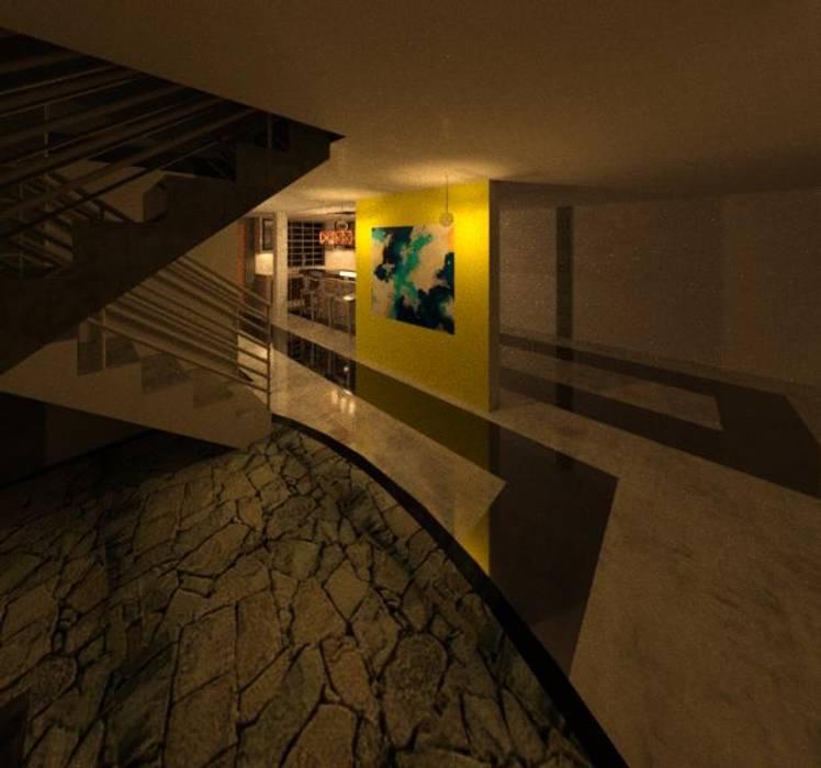 VISTA HALL DE LA VIVIENDA: Pisos de estilo  por ESTUDIO KULUMAK ,