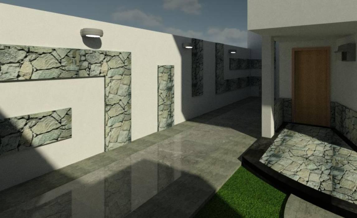 ESTACIONAMIENTO Casas de estilo ecléctico de ESTUDIO KULUMAK Ecléctico Piedra