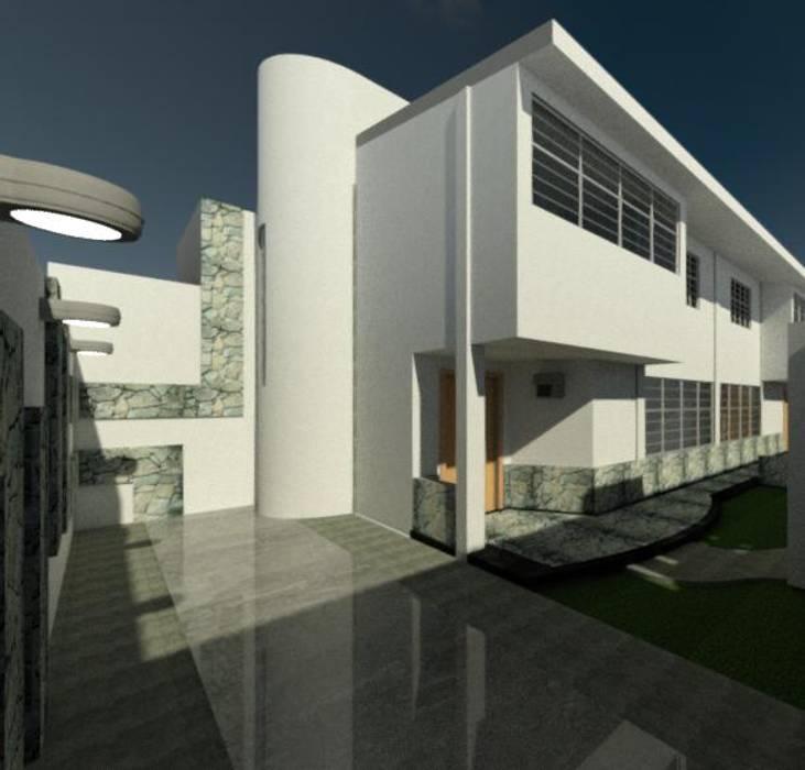 ESTACIONAMIENTO Y VISTA DE CASA: Casas de estilo  por ESTUDIO KULUMAK