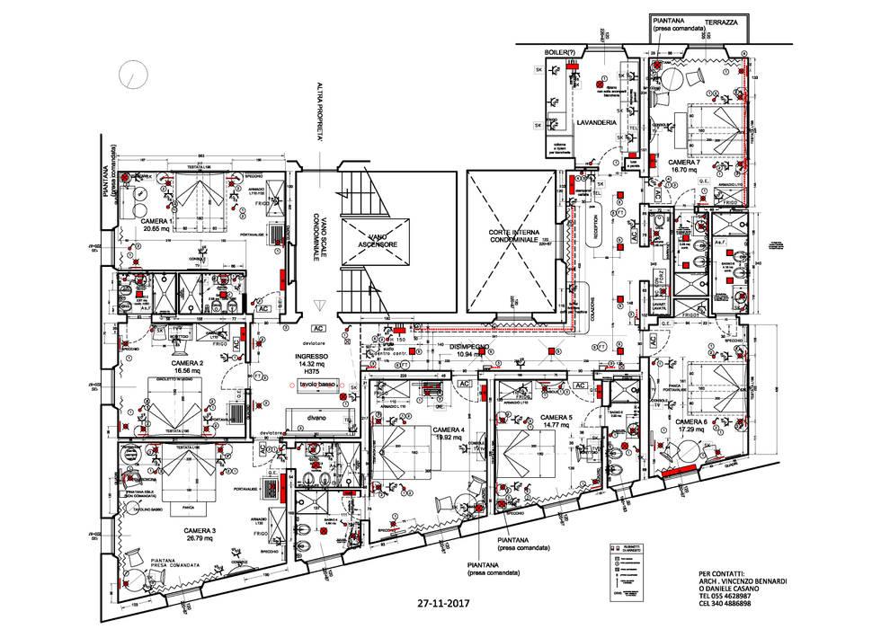 Pianta di tutto l'Appartamento trasformato in B&B: Camera da letto in stile in stile Moderno di Studio Bennardi - Architettura & Design