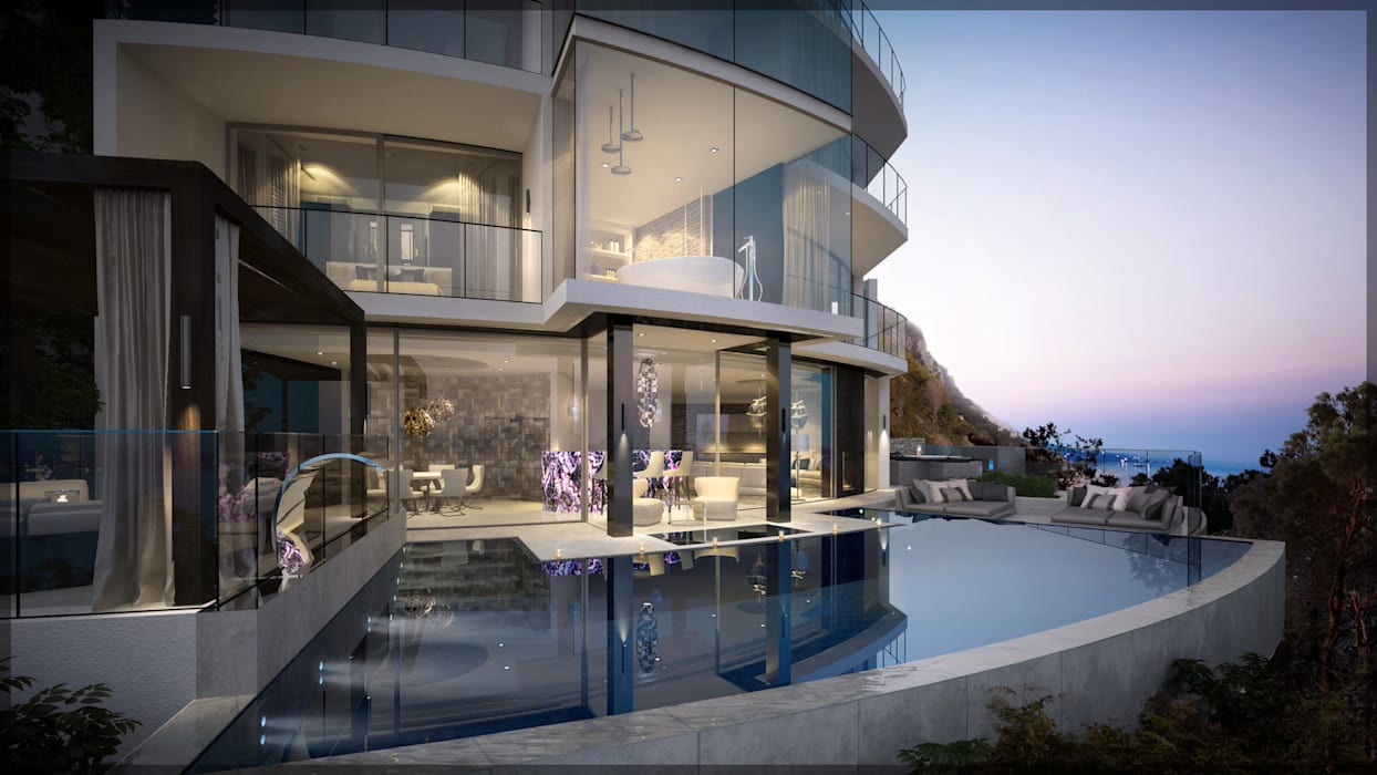 Infinity outdoor pool - floating:  Infinity pool by Design by UBER