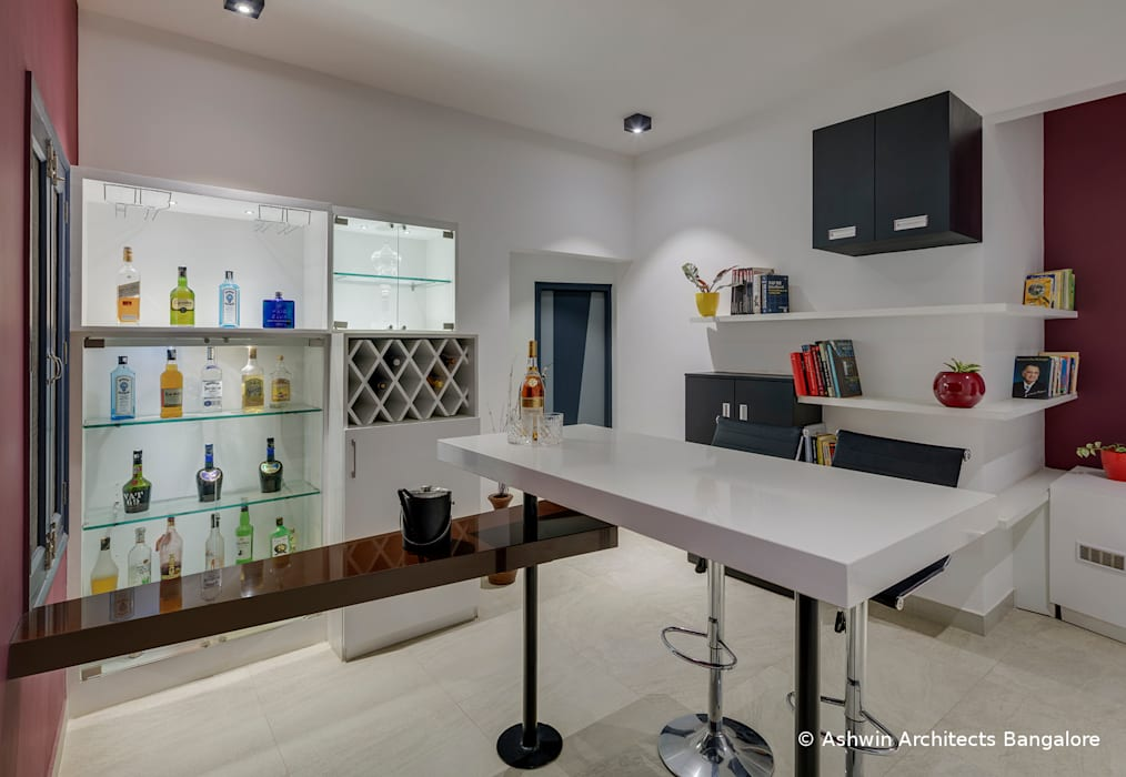 In-house bar Modern media room by Ashwin Architects In Bangalore Modern