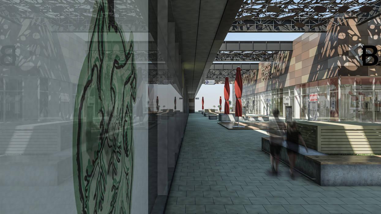 Camara 4 - Patio y reflejo: Shoppings y centros comerciales de estilo  por DUSINSKY S.A.