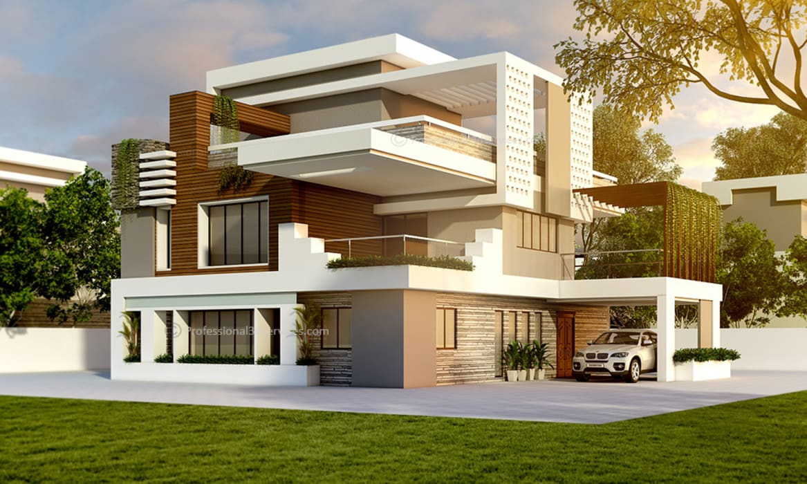 Latest Exterior House Designs 3D Exterior House Design: Single family home by ThePro3DStudio