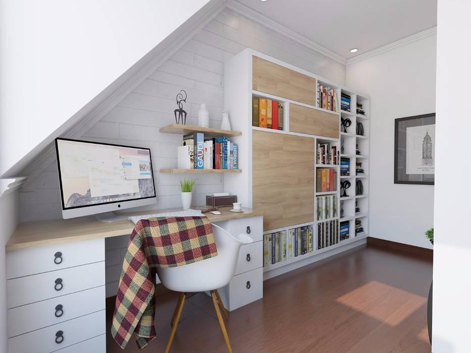 Scandinavian Home Office and Bedroom Oleh SARAÈ Interior Design Skandinavia Kayu Lapis