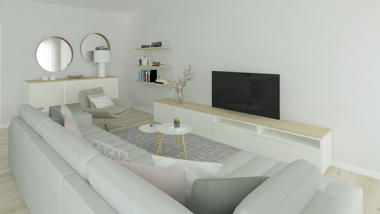 Projeto 3D Sala Estilo Escandinavo: Salas de estar  por Ana Andrade - Design de Interiores,Escandinavo