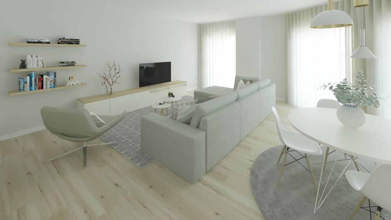 Projeto 3D Sala Estilo Escandinavo: Salas de estar  por Ana Andrade - Design de Interiores