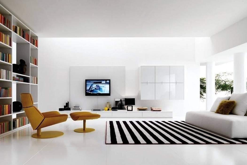 Phòng khách đẹp với sàn nhà màu trắng bởi Thương hiệu Nội Thất Hoàn Mỹ Hiện đại