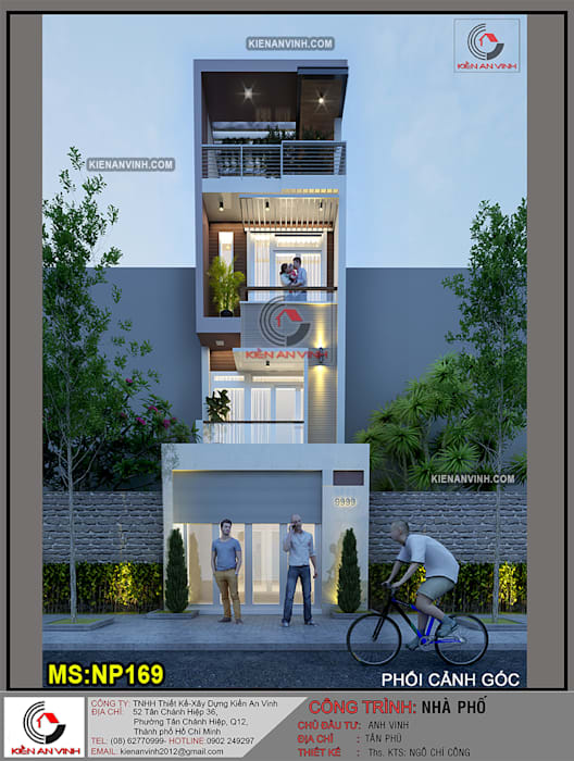 Nhà 3 tầng 1 tum hiện đại :  Nhà gia đình by Kiến An Vinh