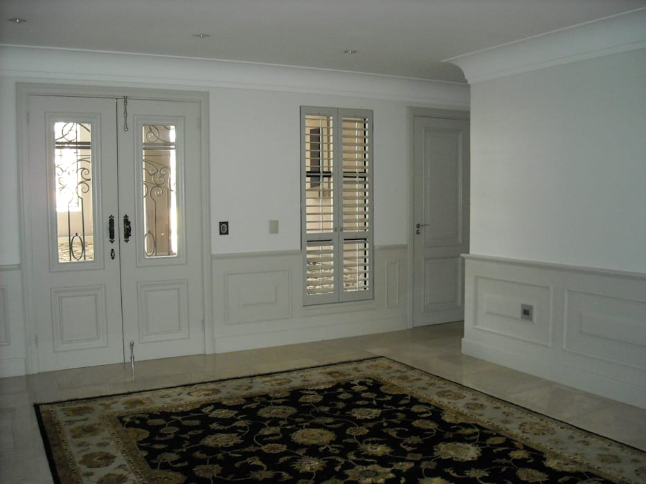Wall panels, Custom front door, shutters and wrought iron gates Eclectic style corridor, hallway & stairs by CKW Lifestyle Associates PTY Ltd Eclectic Wood Wood effect