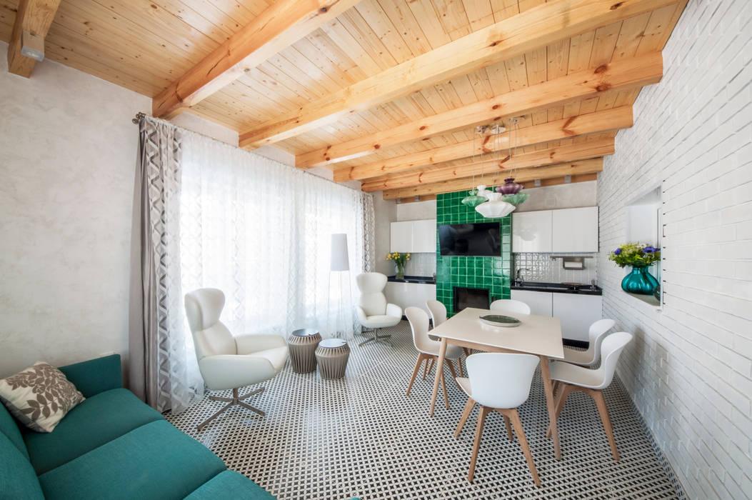 Irina Derbeneva Ruang Keluarga Minimalis Turquoise
