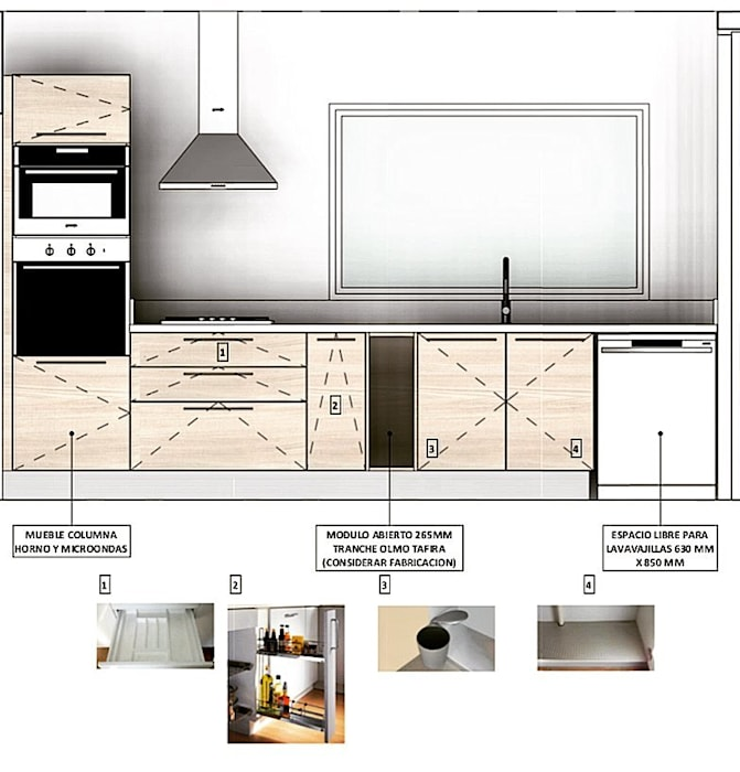 Vivienda Lt37 Premium 115m2 Fundo Loreto: Muebles de cocinas de estilo  por Territorio Arquitectura y Construccion - La Serena