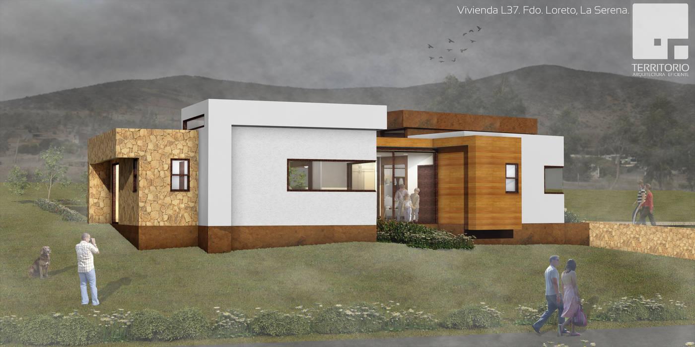 Render diseño de arquitectura Vivienda Premium 115m2 Fundo Loreto. de Territorio Arquitectura y Construccion - La Serena Moderno