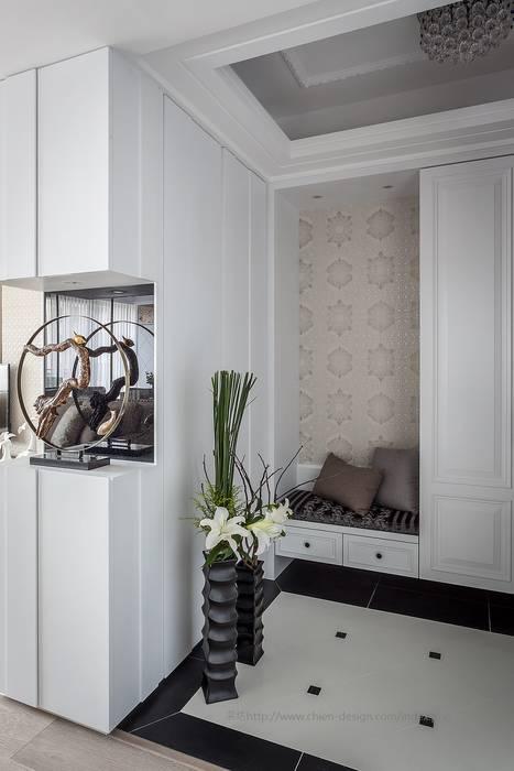 玄關 鼎士達室內裝修企劃 乡村风格的走廊,走廊和楼梯 磁磚 White