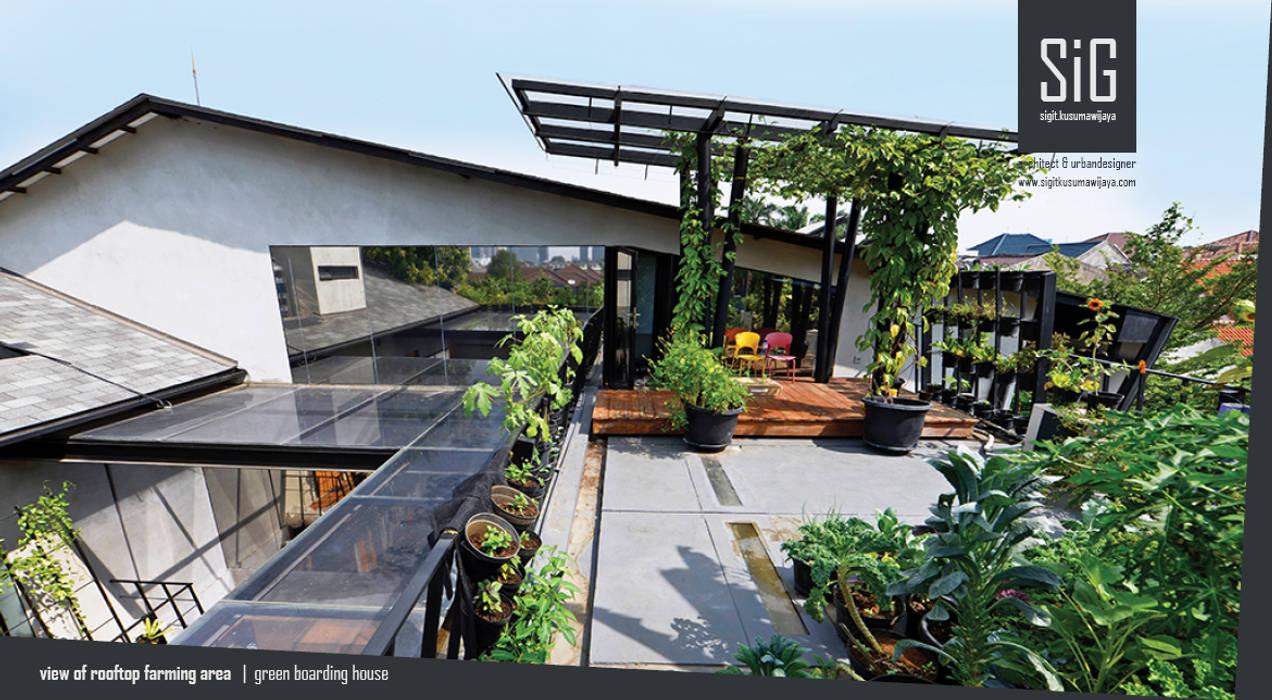 Rumah Beranda - Green Boarding House: Pondok taman oleh sigit.kusumawijaya | architect & urbandesigner, Industrial Besi/Baja
