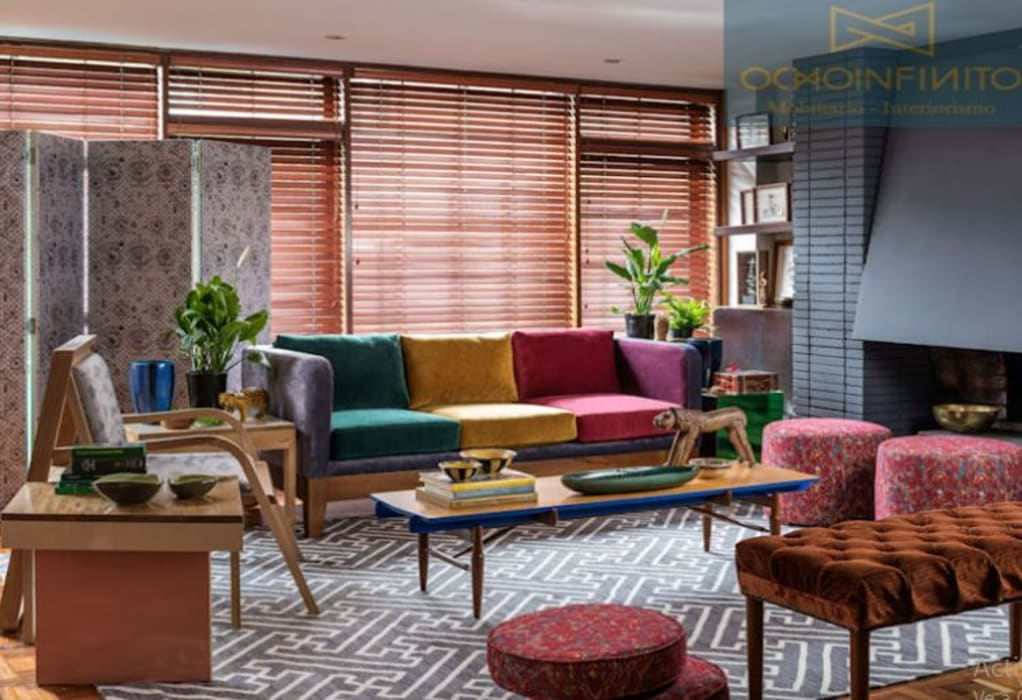 Eclectic style living room by OCHOINFINITO Mobiliario - Interiorismo Eclectic Engineered Wood Transparent