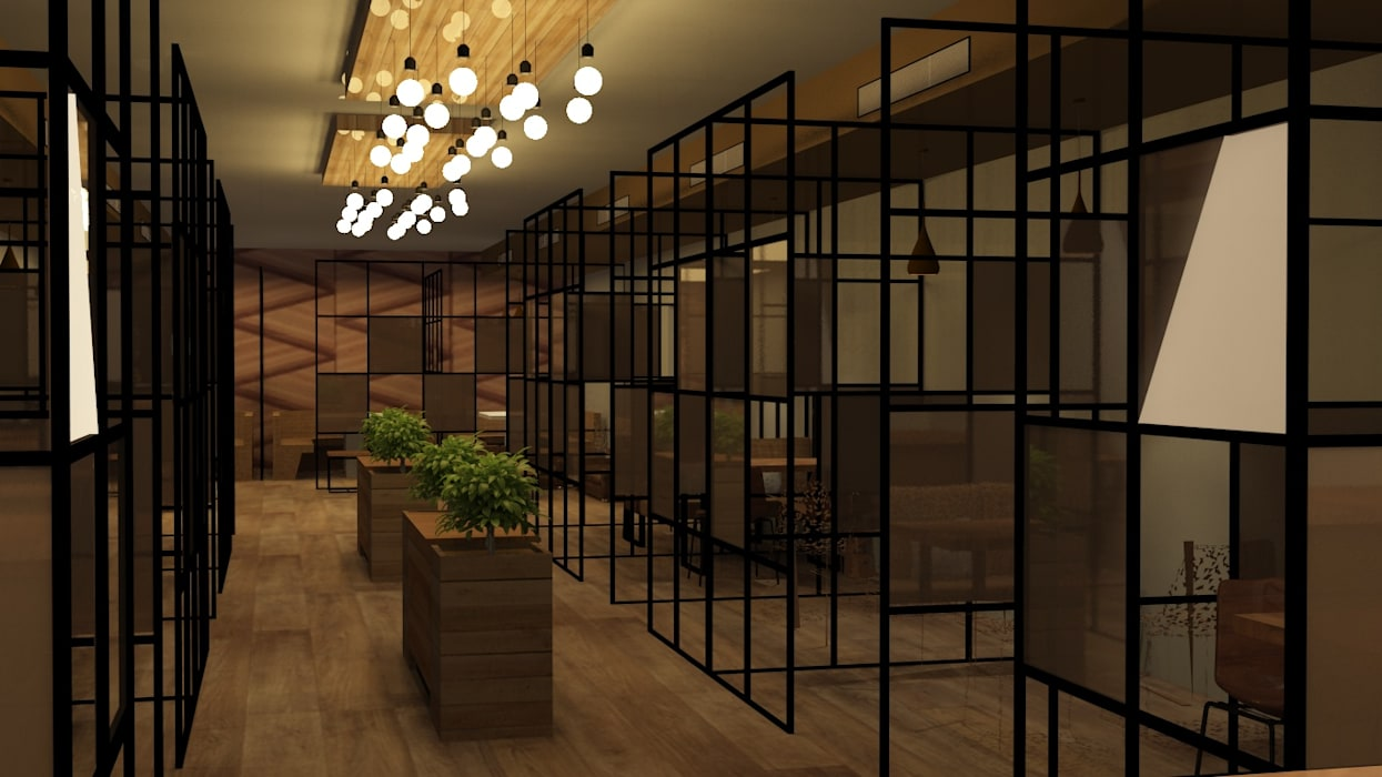 Cafe interiors rustic modern style Modern gastronomy by Rhythm And Emphasis Design Studio Modern