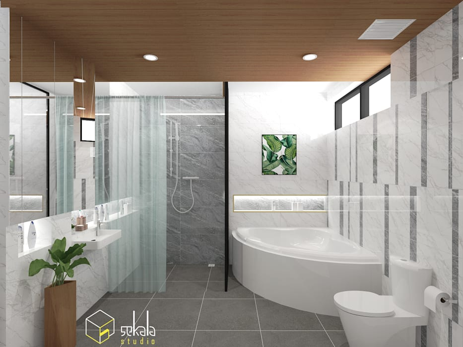 Mr. Adrian's Bathroom: Kamar Mandi oleh SEKALA Studio,