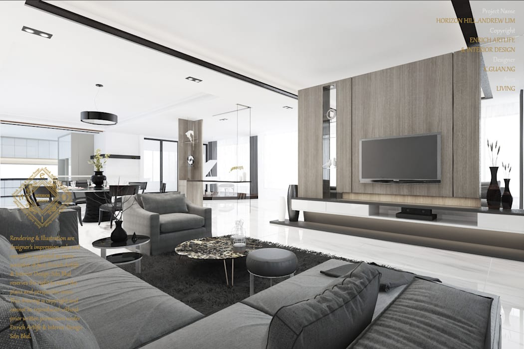 Bungalow Design -Horizon Hill Johor Bahru,Malaysia:  Living room by Enrich Artlife & Interior Design Sdn Bhd
