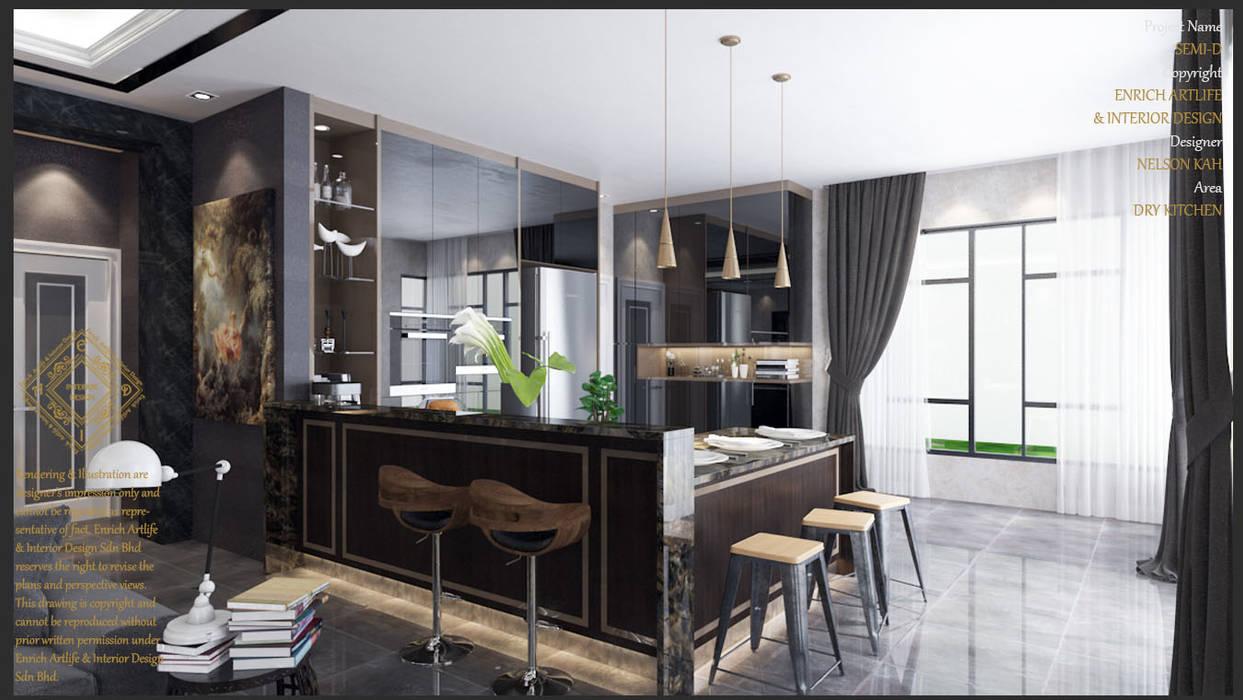 Dry Kitchen:  Kitchen by Enrich Artlife & Interior Design Sdn Bhd