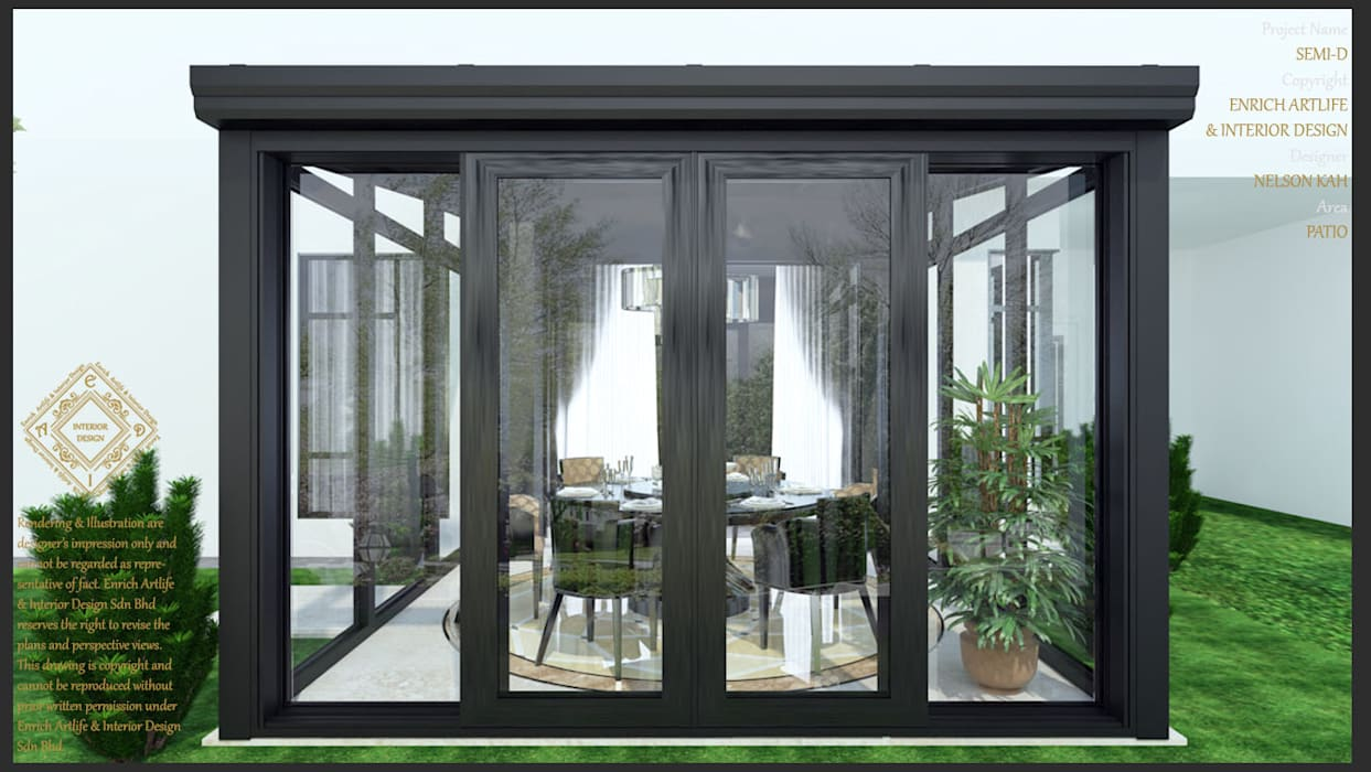 Garden with dining:  Dining room by Enrich Artlife & Interior Design Sdn Bhd, Modern