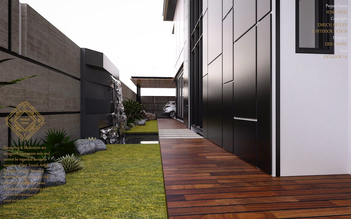 Bungalow Design -Yong Peng Johor Bahru,Malaysia Modern style gardens by Enrich Artlife & Interior Design Sdn Bhd Modern
