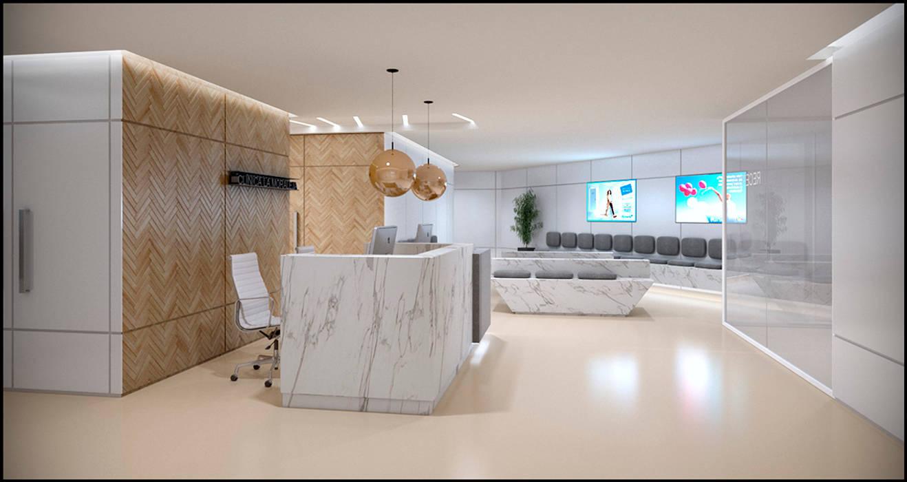 Sala Espera Centro Médico: Clínicas y consultorios médicos de estilo  por MADBA design & architecture