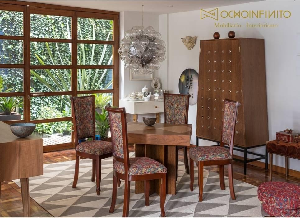COMEDOR 1 - OCHOINFINITO : Comedores de estilo  por OCHOINFINITO Mobiliario - Interiorismo, Ecléctico Derivados de madera Transparente