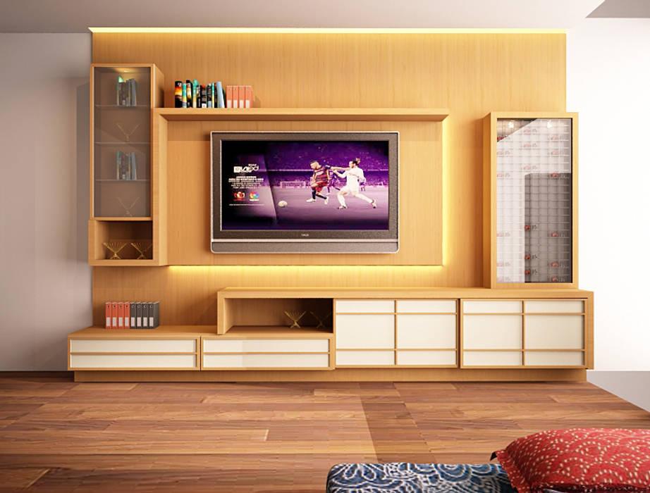 tv panel ruang keluarga : Ruang Keluarga oleh Livint design,