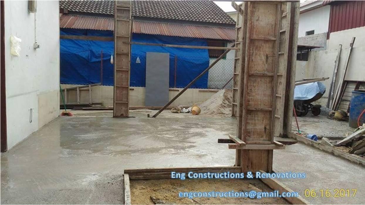Backyard Extension:  Floors by Sam Contractors Ipoh