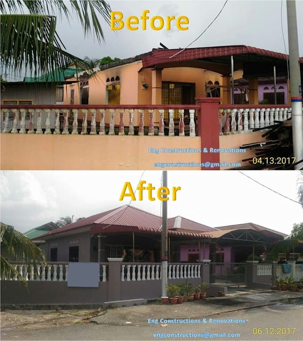 Fire Insurance Claim Asian style balcony, porch & terrace by Sam Contractors Ipoh Asian