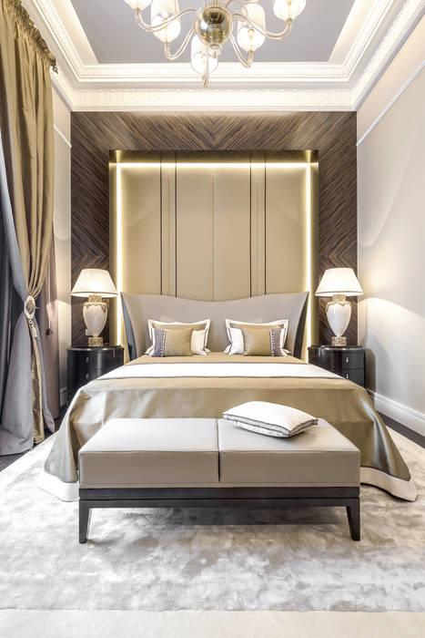 Worm color palette - allows to harmonize the interior and to create a solid image of this private residence near Monaco: Camera da letto in stile in stile Eclettico di NG-STUDIO Interior Design