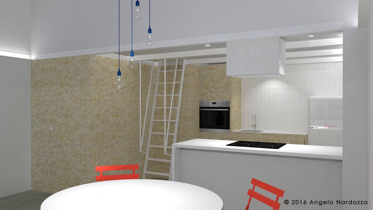 Piccolo loft low budget: cucina: Cucina attrezzata in stile  di Angelo Nardozza Architetto