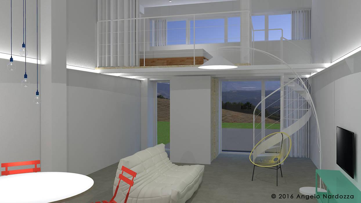 Piccolo loft low budget: soggiorno: Soggiorno in stile in stile Industriale di Angelo Nardozza Architetto