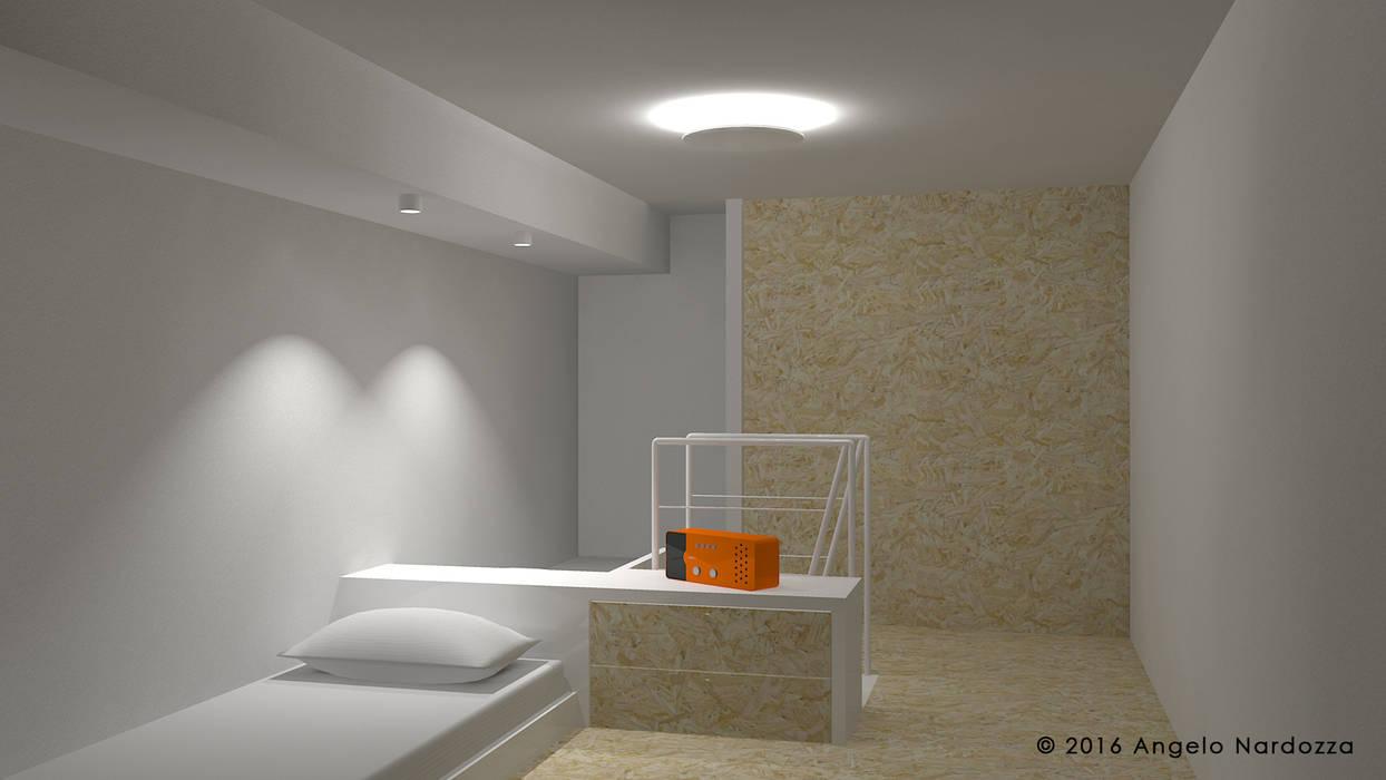 Piccolo loft low budget: camera doppia: Camera da letto in stile in stile Industriale di Angelo Nardozza Architetto