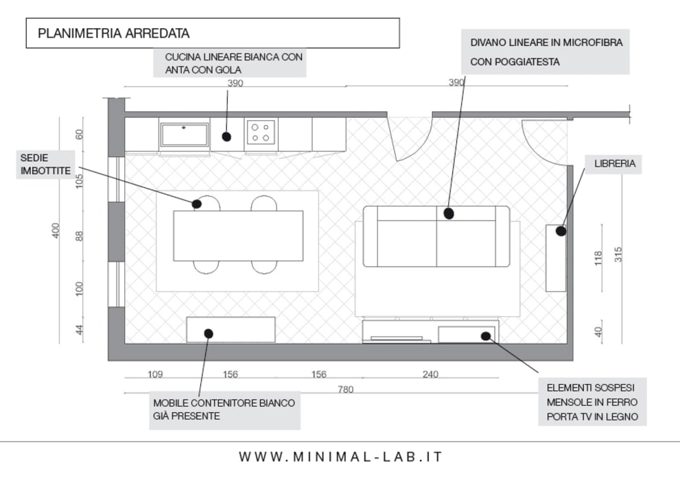 Relooking Zona giorno M&M - Planimetria arredo: Soggiorno in stile  di MINIMAL di Casini Roberta