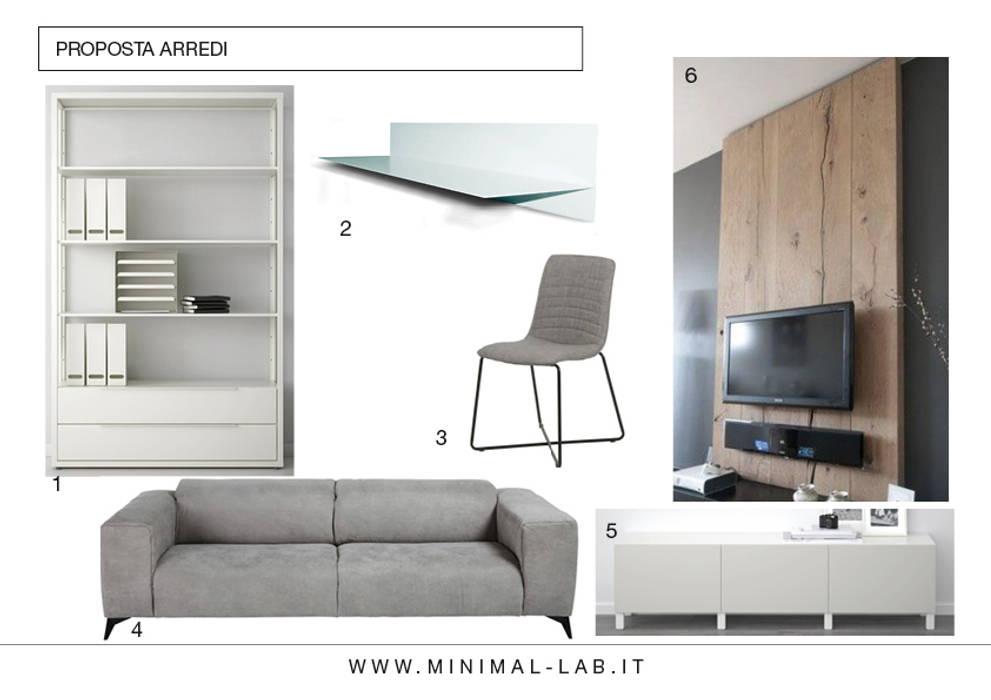 Relooking Zona giorno M&M - Proposta arredi: Soggiorno in stile in stile Moderno di MINIMAL di Casini Roberta