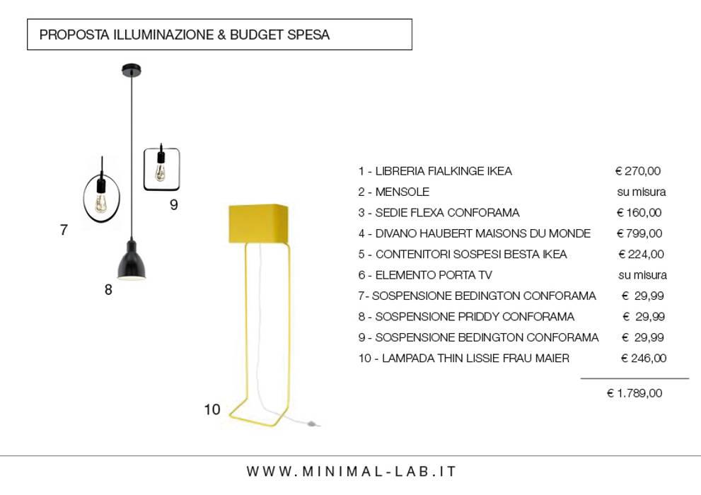 Relooking Zona giorno M&M - Proposta illuminazione: Soggiorno in stile  di MINIMAL di Casini Roberta