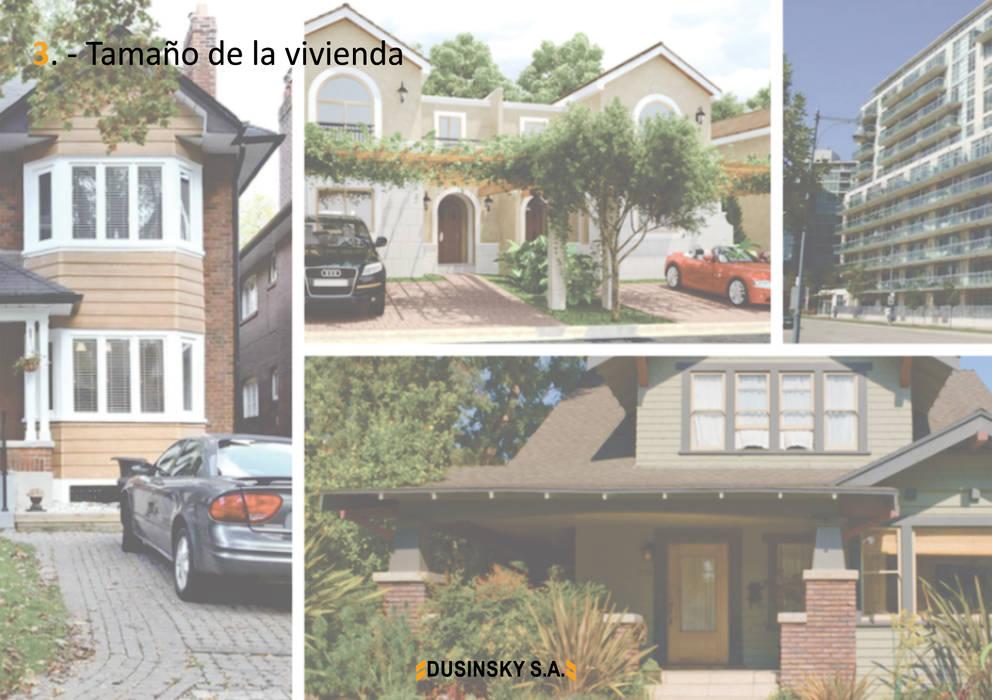 3 - TAMAÑO DE LA VIVIENDA: Casas unifamiliares de estilo  por DUSINSKY S.A.