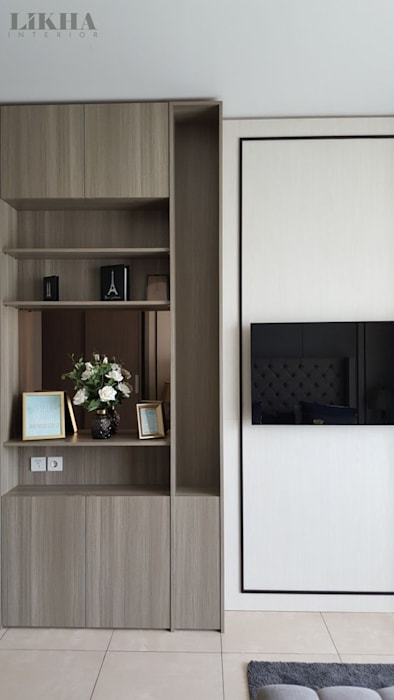 Walltreatment TV:modern  oleh Likha Interior, Modern Kayu Lapis