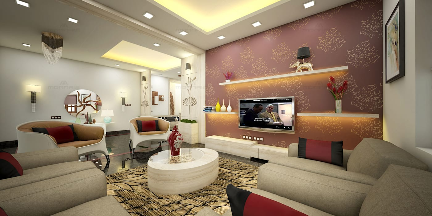 Latest House Designs in Kerala Asian style living room by Monnaie Interiors Pvt Ltd Asian