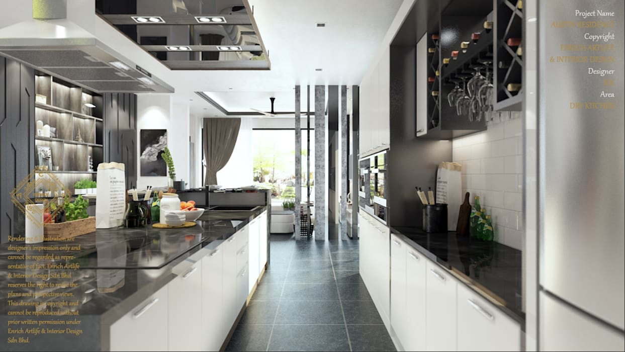 DINING WITH THE DRY KITCHEN Modern style kitchen by Enrich Artlife & Interior Design Sdn Bhd Modern