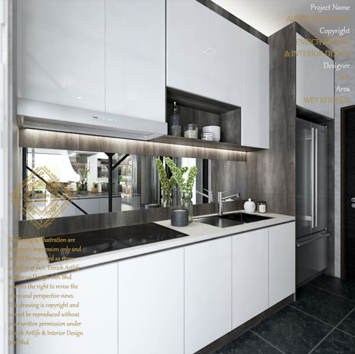 WET KITCHEN:  Kitchen by Enrich Artlife & Interior Design Sdn Bhd