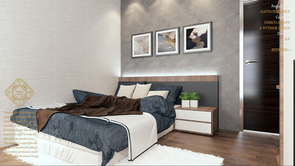 BEDROOM Modern style bedroom by Enrich Artlife & Interior Design Sdn Bhd Modern