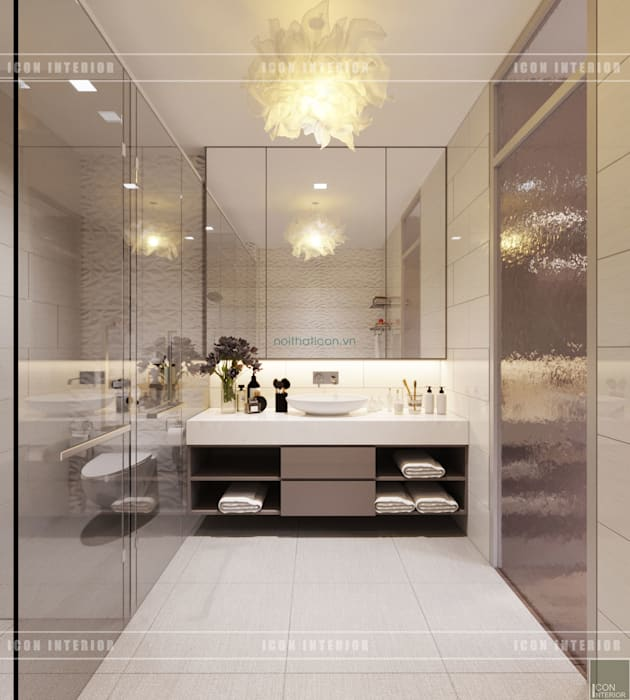 Thiết kế nội thất biệt thự Nine South - Tinh tế đến từng chi tiết nhỏ! Phòng tắm phong cách hiện đại bởi ICON INTERIOR Hiện đại
